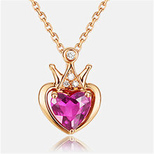 Korean Gold Necklace for Women Red Tourmaline Clavicle Chain Heart-shaped Ladies Diamond Pendant Necklace Wedding Party Jewelry(China)