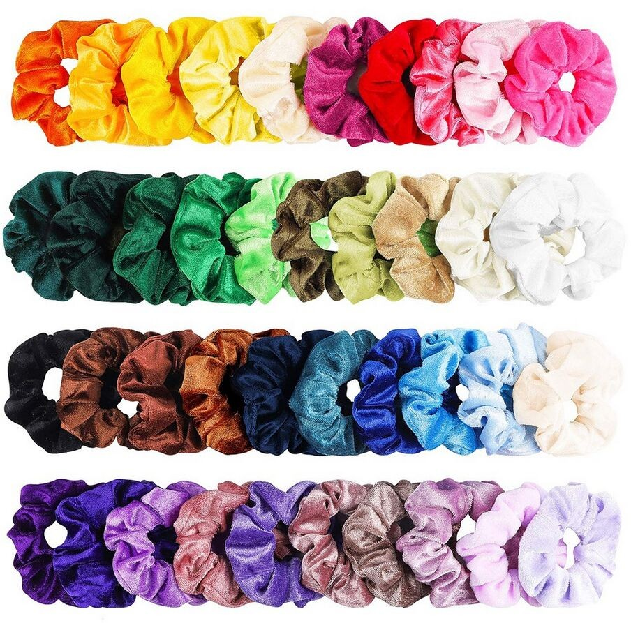 40 Pcs Vintage Hair Scrunchies Stretchy Velvet Scrunchie Pack Women Elastic Hair Bands Girl Headwear Plain Rubber Hair Ties ##0