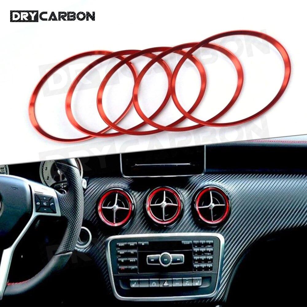 5 шт. Кондиционер Vent выходе кольцо отделка декор для Mercedes Benz W176 W246 C117 X156 AMG Авто хромированный Стайлинг для автомобиля
