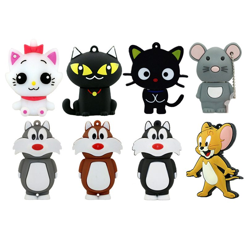 USB Flash Drive Animal Black White Cat Pen Drive Cartoon Pendrive  Mouse 8GB 16GB 32GB 64GB 128G USB 2.0 Flash Memory Stick Gift