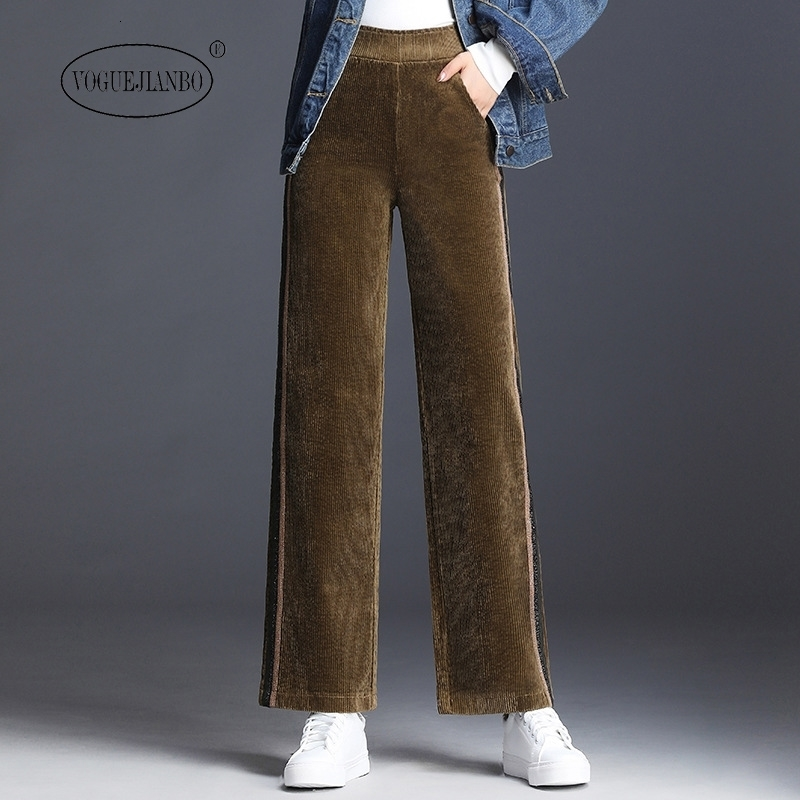 Corduroy Wide-leg Pants Female Spring New Women's Clothing Slim-fit Rag Trousers Striped Loose Slim Casual Pants Pantalon Roupas