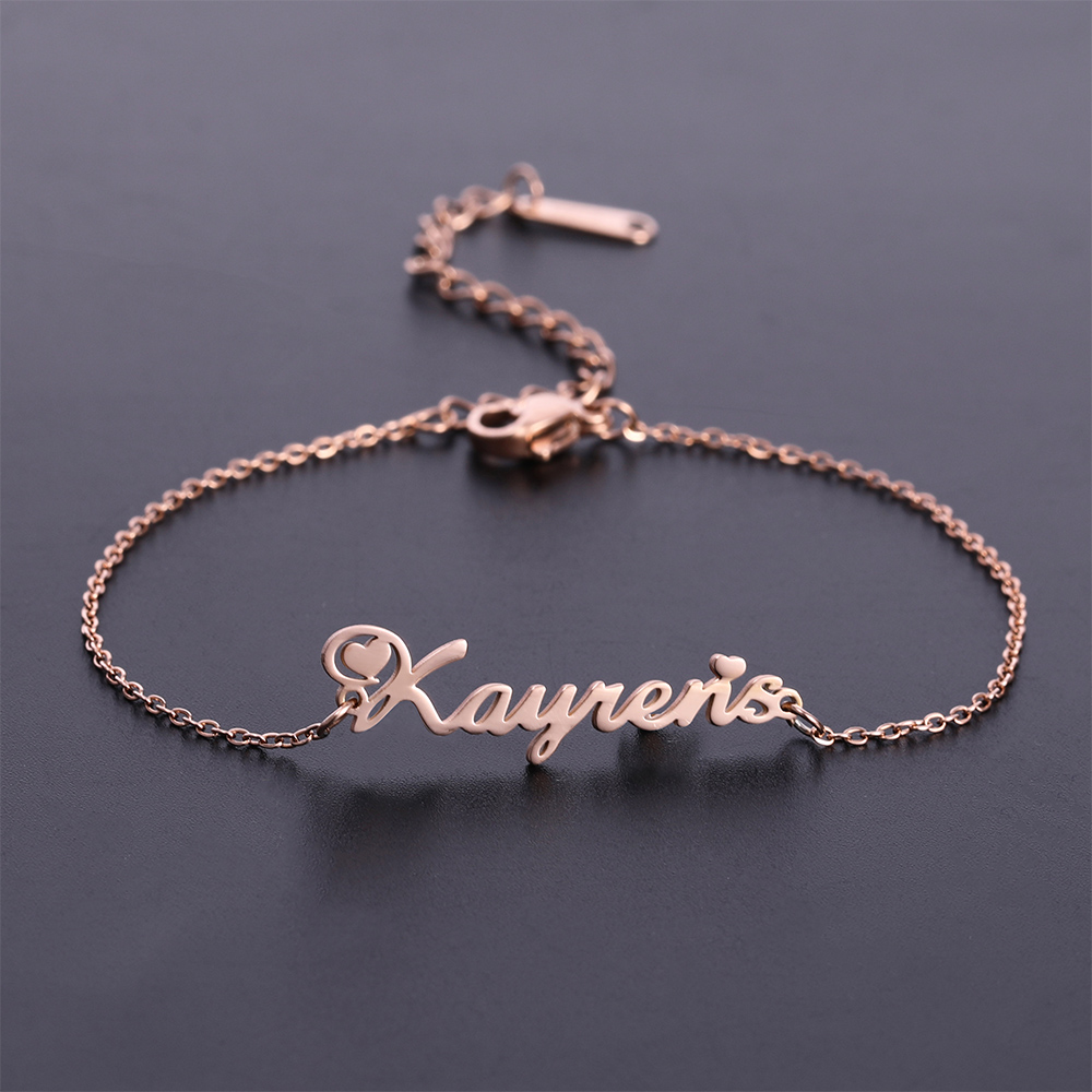 Fishhook Custom Name Anklet Bracelet For Family Baby Women Rose Gold Color Boy Girl Kid Personalized Stainless Steel Jewelry
