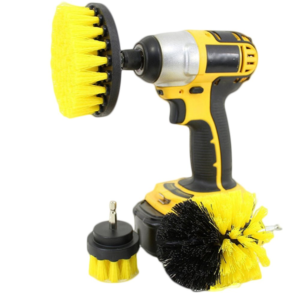 3 Electric Drill Brushes Car Wheel Cleaner Scrubber Room Floor Tile Attachment