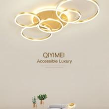 Modern LED Chandelier-Lighting Lamps Luminaire Dimmable Lustres Study-Room Gold Living