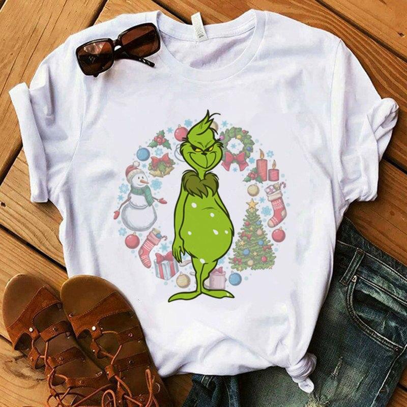 Lus Los Fashion Christmas T-shirt Women  Fun Print Casual Women's T-shirt Christmas Tree Top White T-shirt