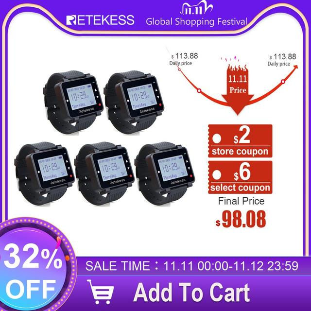 5pcs Retekess T128 Waiter Call Watch Receiver 433.92MHz For Wireless Calling System Restaurant Equipment Customer Service