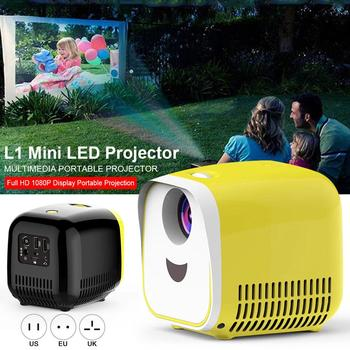 """L1 Mini Projector 80"""" Large Screen 1080P Full HD LED Movie Home Theater Video Projector With HDMI Cable USB TF TV Laptop Games"""