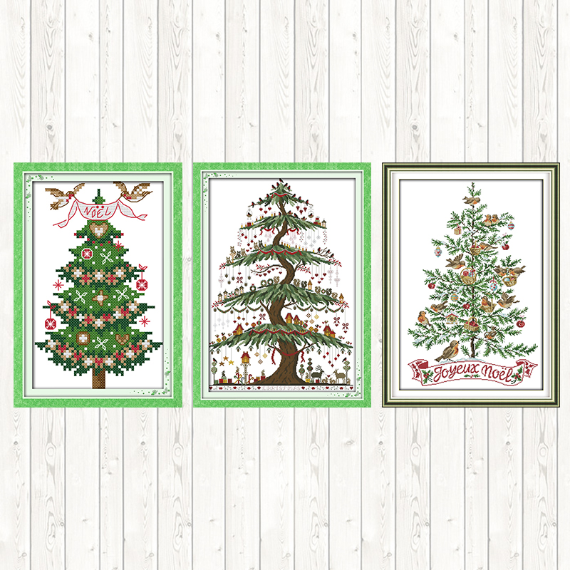 Christmas Tree Counted Embroidery Kit 14ct Cross Stitch Kit Christmas Gift 11ct Printed On Canvas DMC DIY Needlework Hand Crafts