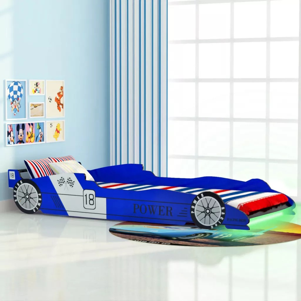 VidaXL Children'S LED Race Car Bed 90x200 Cm Blue Cartoon Car Sharpe Child Bed Easy Assembly Bedroom Furniture Baby Boy Kids