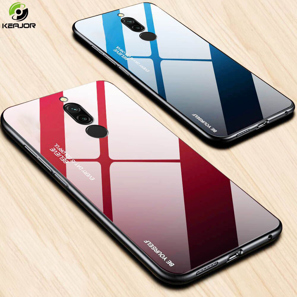 Hard Case For Xiaomi Redmi 8 8A Case Luxury Gradient Glass Cover Soft Silicone Frame Bumper For Redmi 8 Case Redmi 8 A Cover