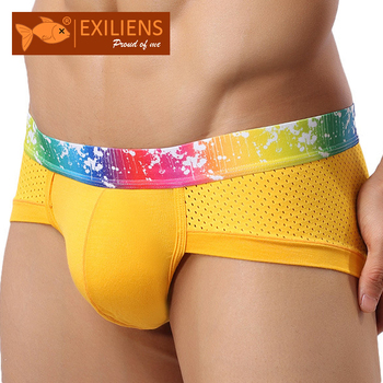 [EXILIENS] Hot Underwears męskie spodenki figi Sexy modalne siatki oddychające męskie majtki męskie marki GAY stałe wygodne rozmiar L-XXXL tanie i dobre opinie 1-2305