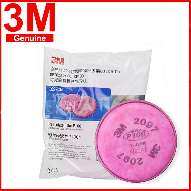 3M 2097 Particulate Filter P100 Can Use With Gas Mask 6200, 7502 Use Series Respirator