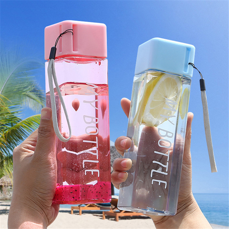 New Square Plastic Water Bottles 500ml Transparent Frosted Sport Heat resistant My bottle BPA Free Korean style