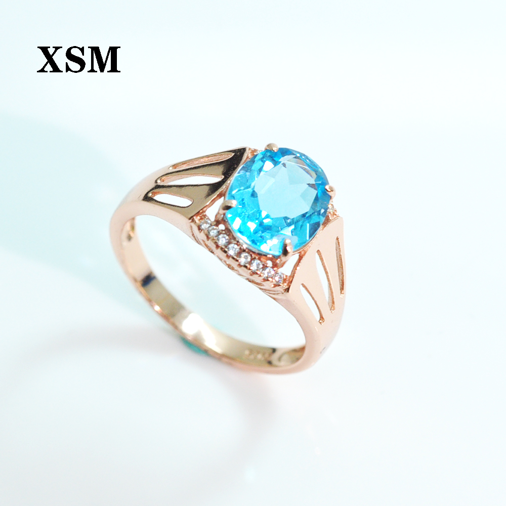 XSM Fine Jewelry  Natural dark blue topaz big gemstone oval8*10mm rings 925 Sterling Silver for women Wedding Engagement Jewelry