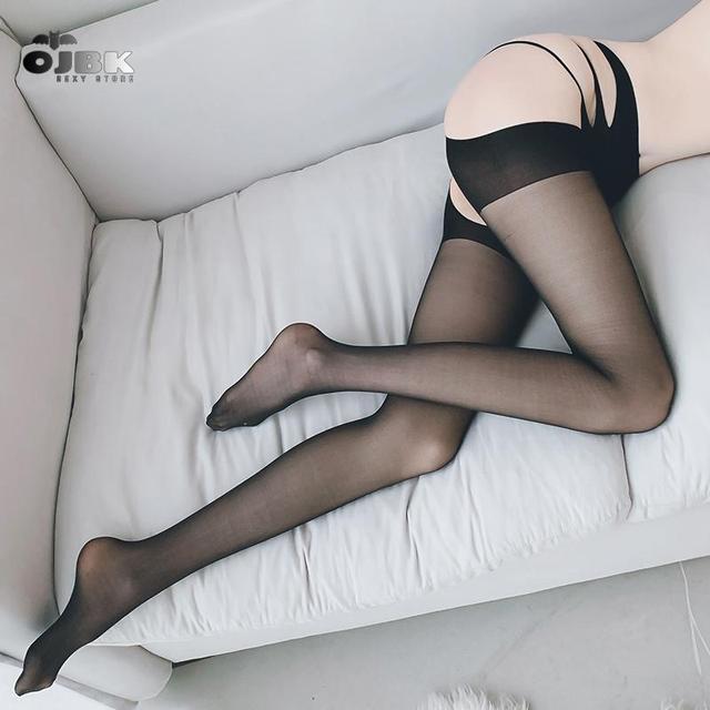 Taille transparente bas Lingerie Sexy femme jarretière résille collant ouvert entrejambe collant uni rayé elastique haut