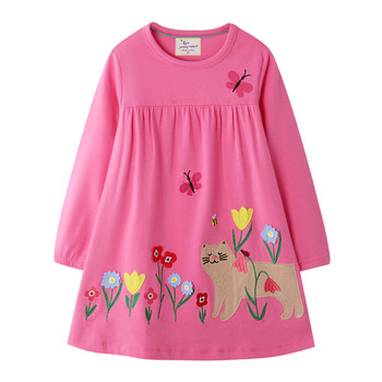 Cat Applique Girls Dresses Cotton Princess Long Sleeve Baby Dress Animals Children Costume Party Cute Girls Dresses