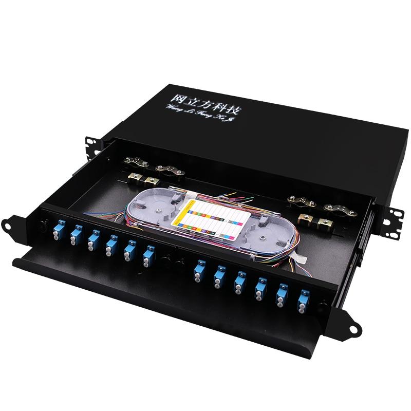 Boîtier de terminaison de fibre de montage en Rack pour 24 cœurs UPC APC LC