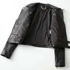 Image 3 - Printemps automne mouton veste en cuir court femmes manteau noir décontracté haute qualité véritable peau de mouton Locomotive Style vestes Outwear