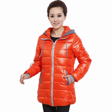 Winter Women Puffer Parkas Female Casual Hooded Basic Coat Bright Orange Blue Red Black Puff Quilted Jackets With Hood Outerwear цена и фото