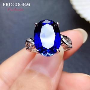 Женское кольцо с сапфиром Procogem, вечерние кольца для девушек, подарок 10x14 мм, серебро 925 пробы, бесплатная доставка от производителя #766