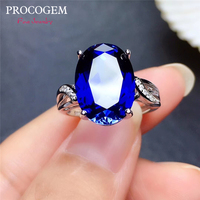 Procogem Sapphire Rings for Women Big Rings for Party Girls Gift 10x14mm 925 Sterling Silver Free shipping Manufacturer #766