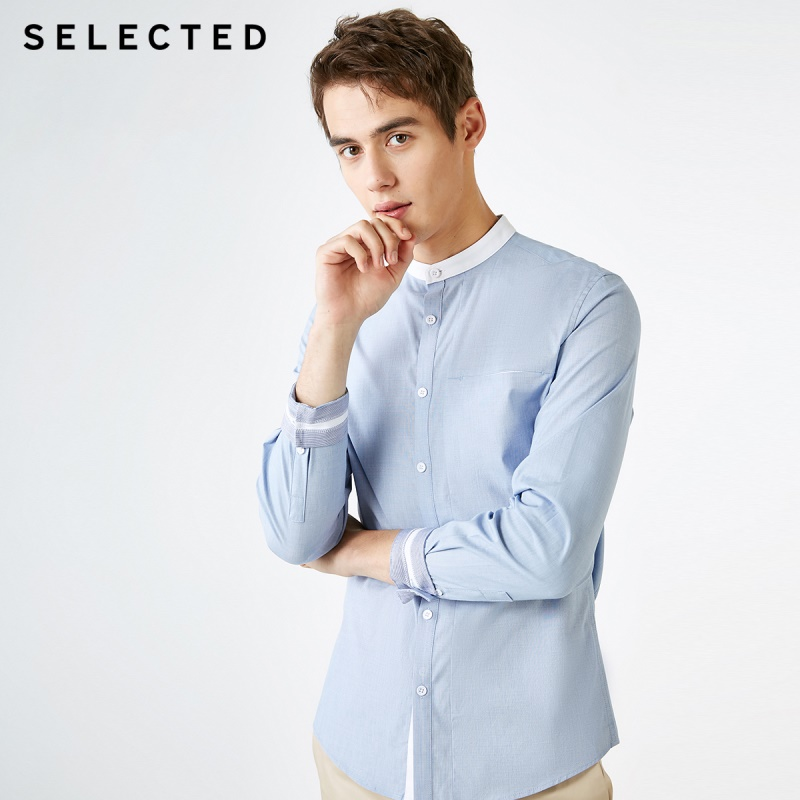 SELECTED Men's Cotton Stand-up Collar Slim Fit Long-sleeved Shirt S|419105576