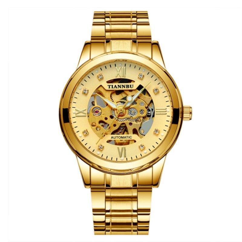 Новые Бизнес Мужские часы светящиеся водонепроницаемые автоматические