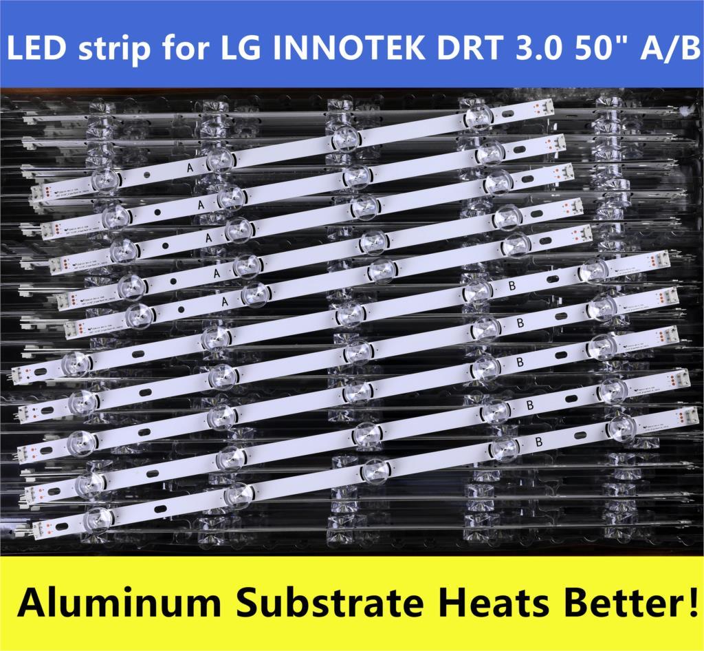 (New Original)Kit 10 PCS LED Strip For LG 50LF6300 50LB6300 INNOTEK DRT 3.0 50 Inch A B 6916L-1736A 1735A 6916L-1978A 1979A