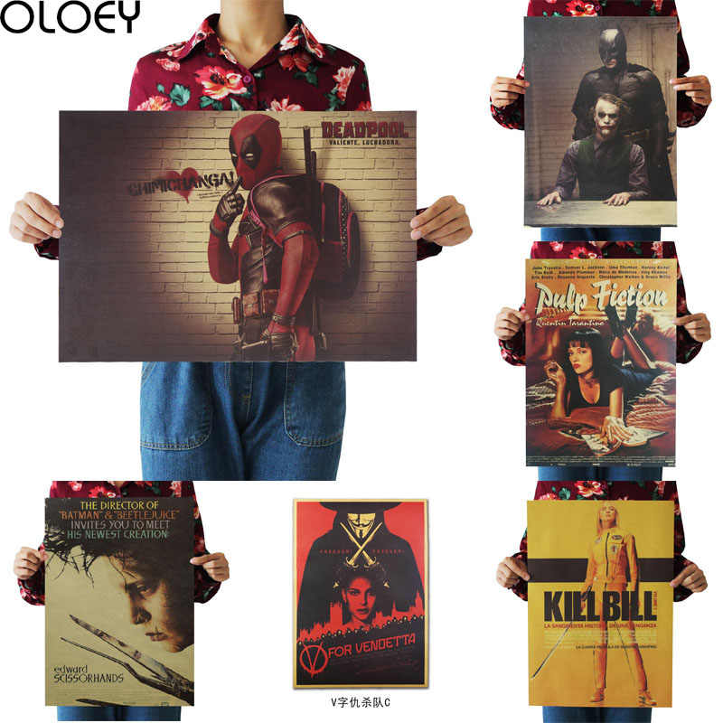OLOEY 1PC 51.5x36cm Home Decor Wall Stickers Vintage Paper Classic Movie Poster Set Bar Decoration