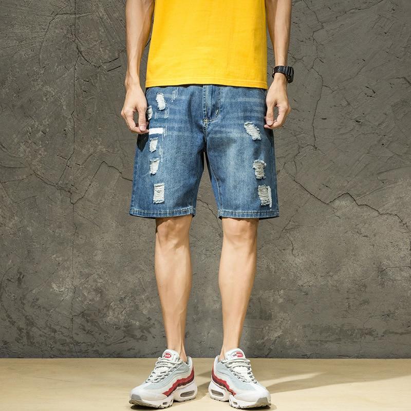 New Style Tattered Hole Paint Cowboy 5 Pants Men's Japanese-style Loose And Plus-sized Cowboy Short Shorts Men's