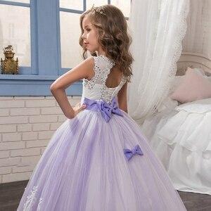 Image 4 - אלגנטי פרח ילדה שמלות 2020 סגול אפליקציות שרוולים ילדים נסיכת לחתונות ראשית הקודש שמלות תחרות שמלות