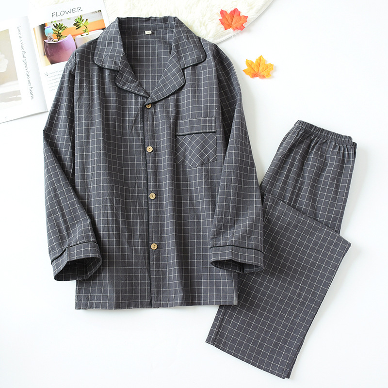 Mens Pajamas Sleepwear Nightwear Long-Sleeved Cotton Spring New And Autumn Pure Trousers