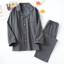 Nova água lavado algodão calças de manga comprida dos homens pijamas primavera e outono lapela puro algodão pijamas mans pijamas pijamas
