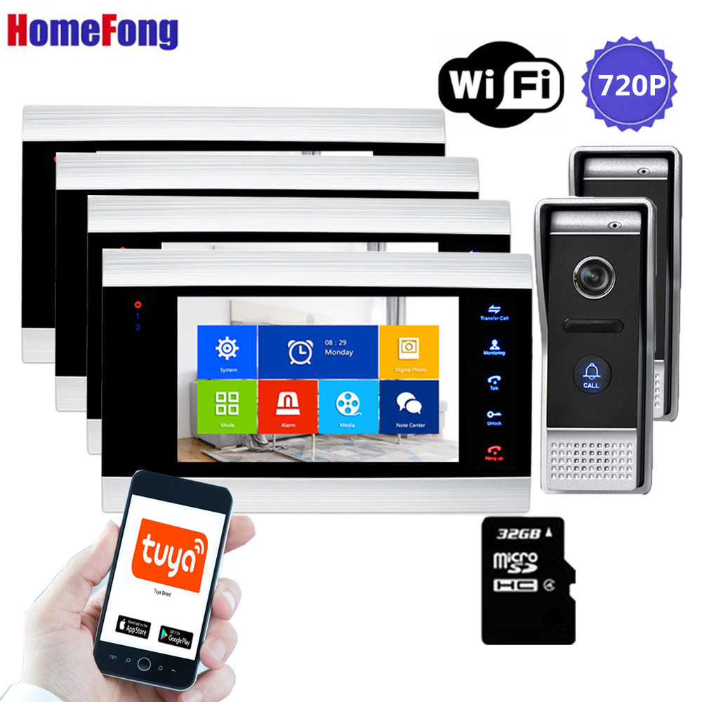 [Wide Angle 100°]Homefong 720P Wifi Video Door Phone Intercom System 4 Monitors Call Transfer Mobile Phone Talk Unlock Record