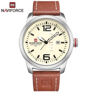 Image 1 - 2020 יוקרה למעלה מותג NAVIFORCE גברים צבאי ספורט שעונים גברים של קוורץ תאריך שעון איש עור שעון יד Relogio Masculino