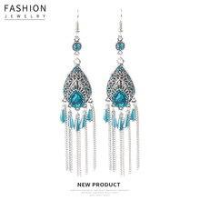 Hello Miss New Fashion Earrings Vintage Pattern Hollow Drops Alloy Tassel Bohemian Womens Jewelry Gifts