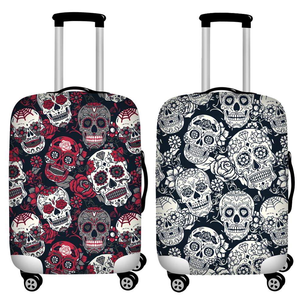 Twoheartsgirl 18/20/22/24/26/28/30/32inch Luggage Cover Protecor Elastic Floral Skull Print Travel Suitcase Cover Stretchable