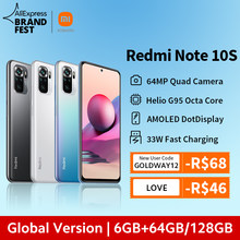 [World premiere] versão global xiaomi redmi note 10s smartphone 64mp quad camera helio g95 6.43