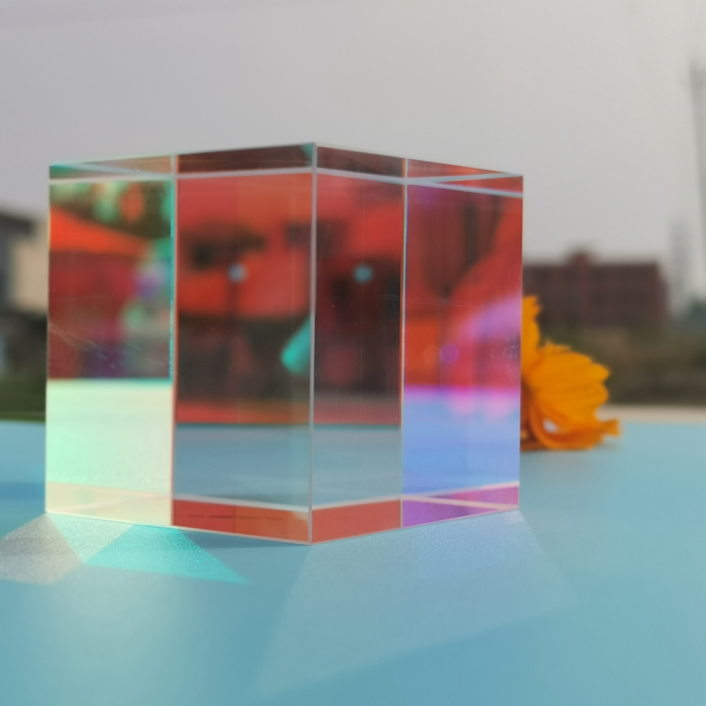 Optical Glass Cube Dichroic Beam Splitter Prism Ratio 50:50 Spectrome Sicence