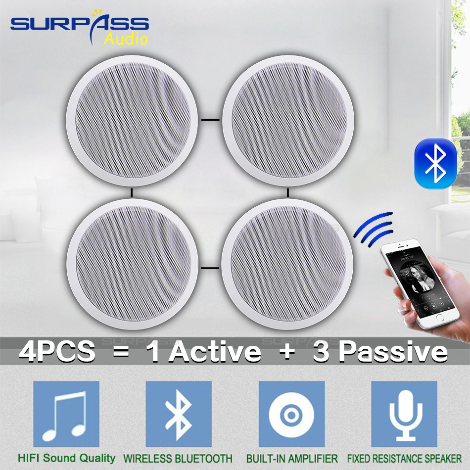 4PCS Power Output Wall Mounted In-Ceiling Speakers Digital Smart Home Audio Loundspeaker Stereo Music Player Active Ceiling SPK 5
