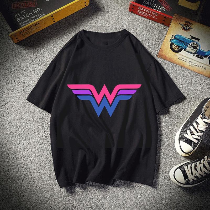 Bisexual Wonder Woman Harajuku T Shirt O-Neck Tops Tees Summer Men T-Shirt Fashion Funny T-Shirts Tees