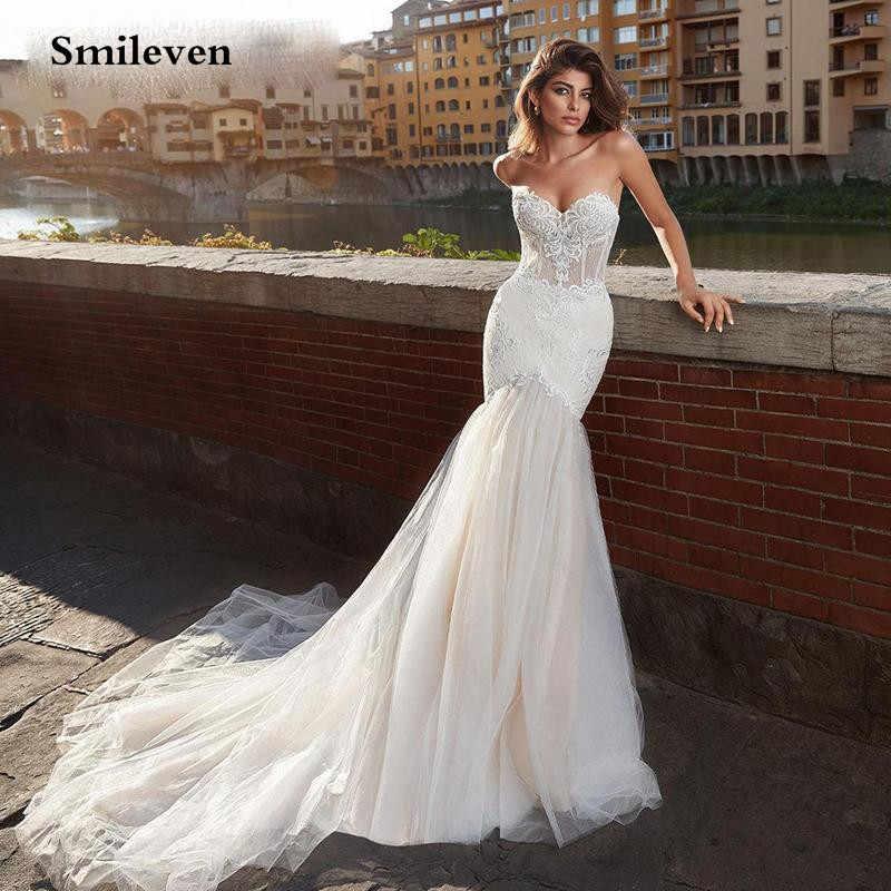 Romantic Simple Mermaid Wedding Dresses Backless Detachable Train Bridal Gowns