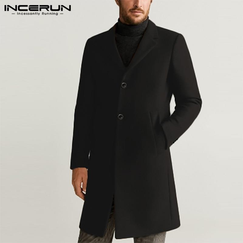 Men Coats Solid Color Faux Wool Blends Long Sleeve Windbreaker Lapel Elegant Jackets Winter 2020 Fashion Mens Overcoats INCERUN