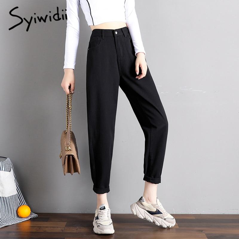 2019 Latest Design Elastic Waist Black Jeans Korean Fashion 4 Collor Mom Jeans High Waist Jeans High Street Plus Size Denim Pants Street Style Easy To Use