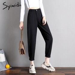 Cintura elástica jeans preto coreano moda 4 collor mãe calças de brim cintura alta rua plus size calças jeans estilo rua