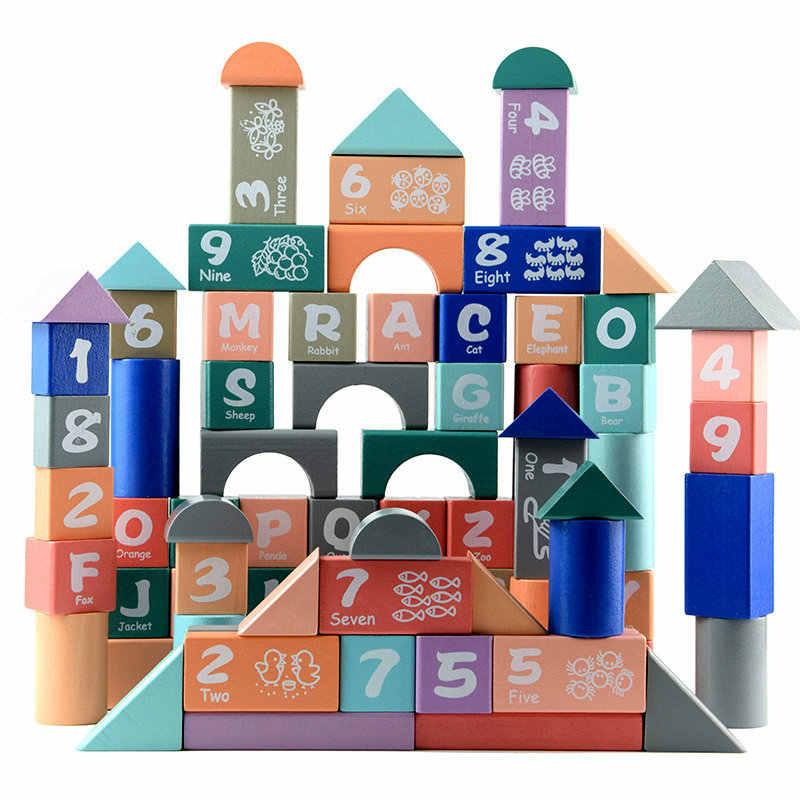 82pcs Macaron colours letters digital wooden blocks, Children's Educational toys Building block, Models Building Toy Baby gift