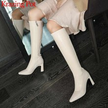Stretch-Boots Krazing Pot Square Toe Internet-Star High-Heels Fashion Women Small Solid