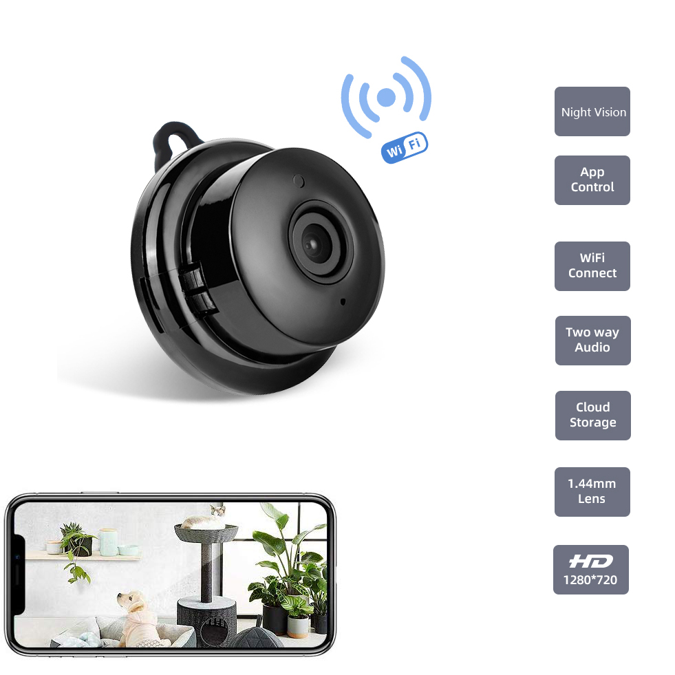 Tigenkey Wireless Mini WIFI 720P IP Camera Cloud Storage Infrared Night Vision Smart Home Security Baby Monitor Motion Detection