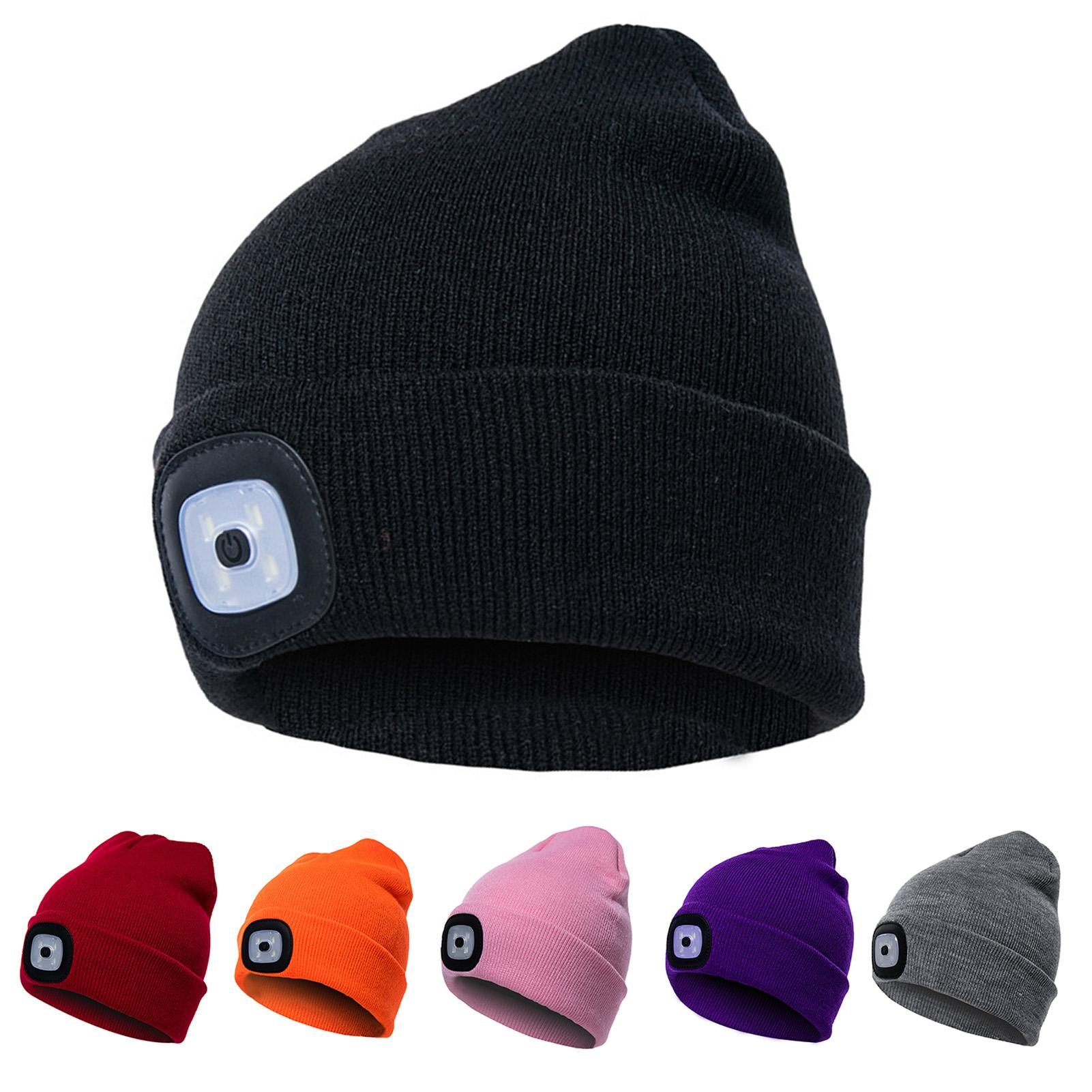 Unisex Winter LED Light Luminous Warm Knitted Hat Outdoor Camping Head Lamp Cap