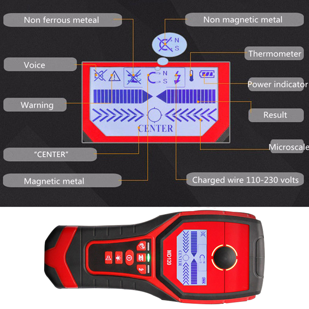 Détecteur de métaux multifonctionnel MD120 sensible détecteur de mur de bois en direct goujons de fil Scanner LCD affichage métal Finder offre spéciale - 6